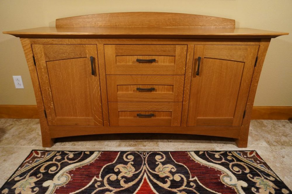 Craftsman sideboard made with quarter sawn white oak and hand made bronze pulls