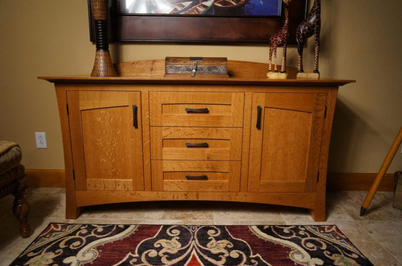 Modern craftsman sideboard made with quarter-sawn white oak and bronze pulls