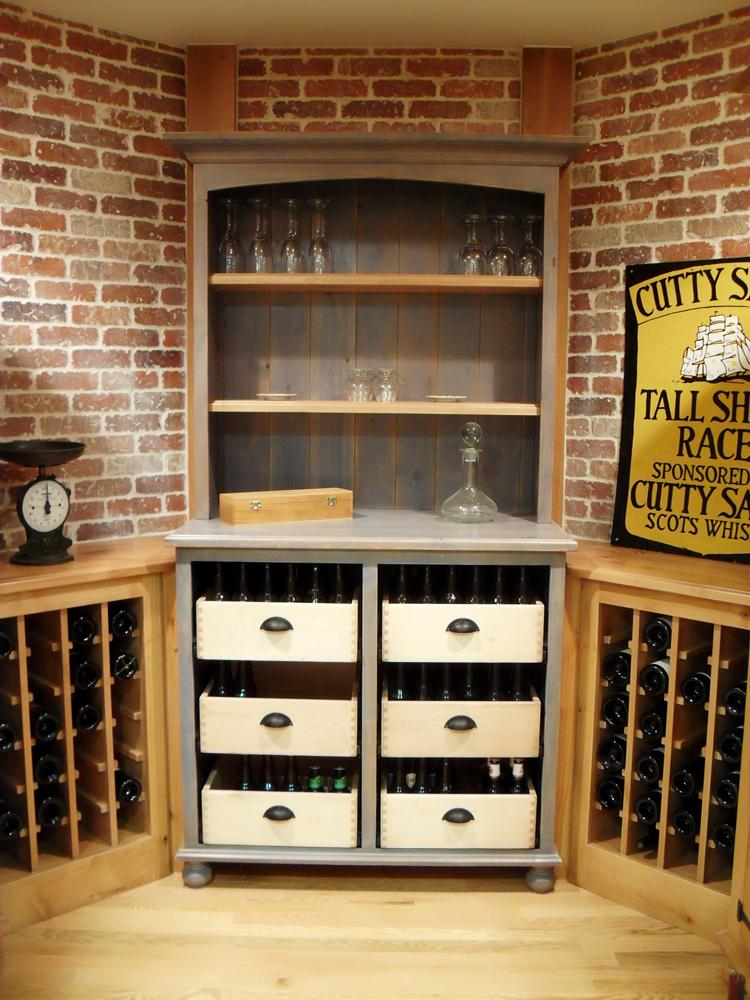Beer & wine cellar made with knotty alder