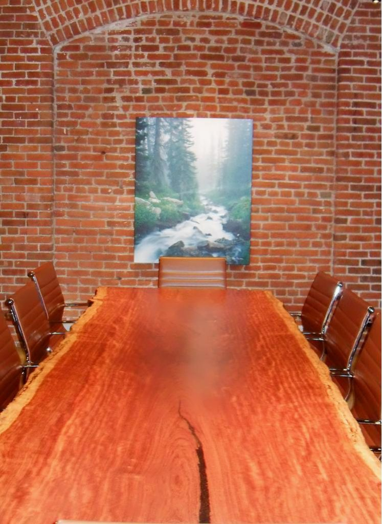 Live edge conference table made with bubinga wood
