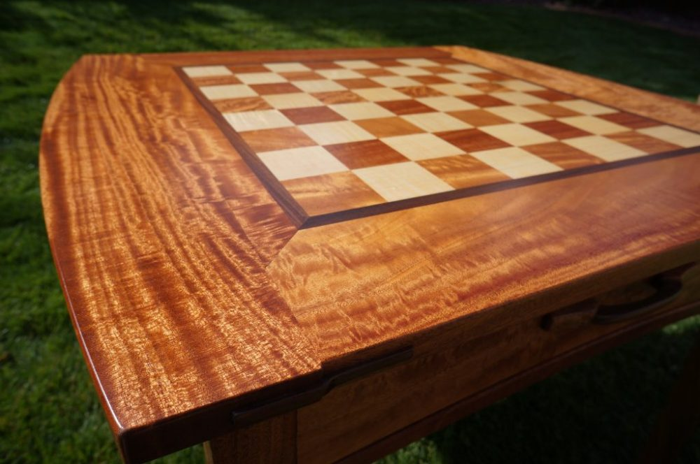 African mahogany chess board table with Green