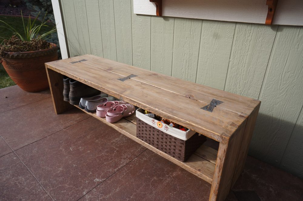 Reclaimed wood entryway bench made with dovetail and mortise