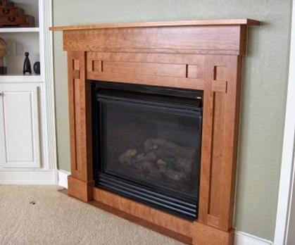 Fireplace mantle made with cherry