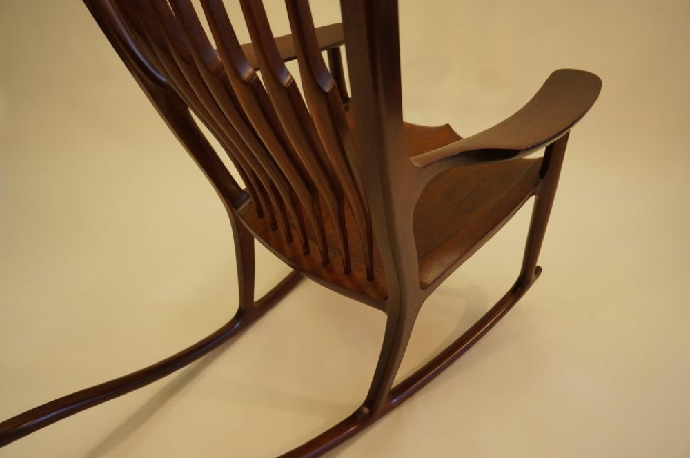 Sam Maloof style rocking chair made with mahogany