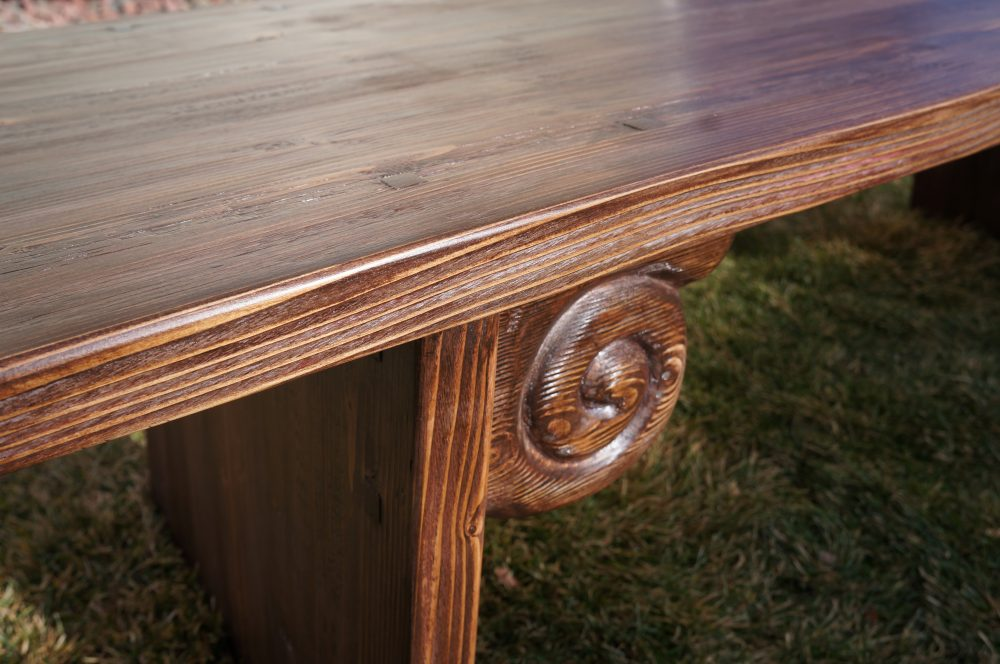 Hand carved Asian tea table / coffee table with antiqued finish.